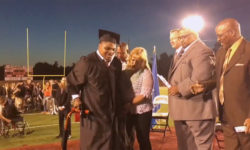 High school graduate Micah McDade was born with cerebral palsy, and walks for the first time to receive his diploma.