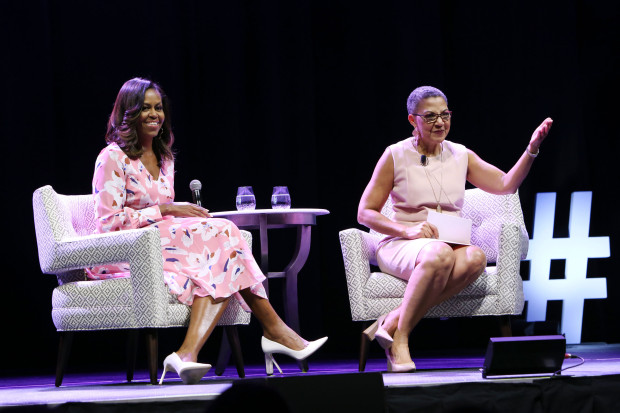 DENVER, CO - JULY 25:  Former First Lady Michelle Obama speaks, emphasizing that women must celebrate their strength, during a live conversation with The Women's Foundation of Colorado President and CEO Lauren Y. Casteel at Pepsi Center on July 25, 2017 in Denver, Colorado.  (Photo by Jason Bahr/Getty Images for The Women's Foundation of Colorado)