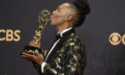 "Lena Waithe poses in the press room with the award for outstanding writing for a comedy series for the ""Master of None"" episode ""Thanksgiving"" at the 69th Primetime Emmy Awards on Sunday, Sept. 17, 2017, at the Microsoft Theater in Los Angeles. (Photo by Jordan Strauss/Invision/AP)"