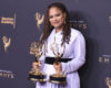 "Mandatory Credit: Photo by Invision/AP/REX/Shutterstock (9048889at) Ava Duvernay poses in the press room with the awards for outstanding documentary or nonfiction special and outstanding writing for nonfiction programming for ""13th"" during night one of the Creative Arts Emmy Awards at the Microsoft Theater, in Los Angeles 2017 Creative Arts Emmy Awards - Press Room - Night One, Los Angeles, USA - 09 Sep 2017"