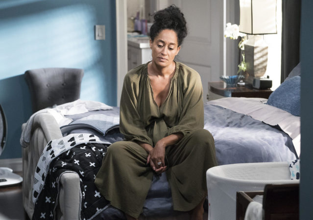 "BLACK-ISH - ""Mother Nature"" - Bow is feeling overwhelmed after the birth of DeVante and learns she is suffering from postpartum depression. Dre urges her to get help and stands by her side while she works through it. Meanwhile, the kids babyproof the house in an effort to help their parents out, on ""black-ish,"" TUESDAY, OCTOBER 10 (9:00-9:30 p.m. EDT), on The ABC Television Network. (ABC/Eric McCandless) TRACEE ELLIS ROSS"